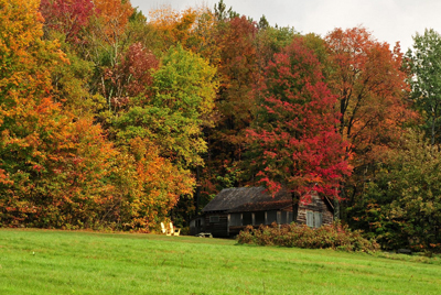 Robert Frost Cabin hidden in Autumn Foliage