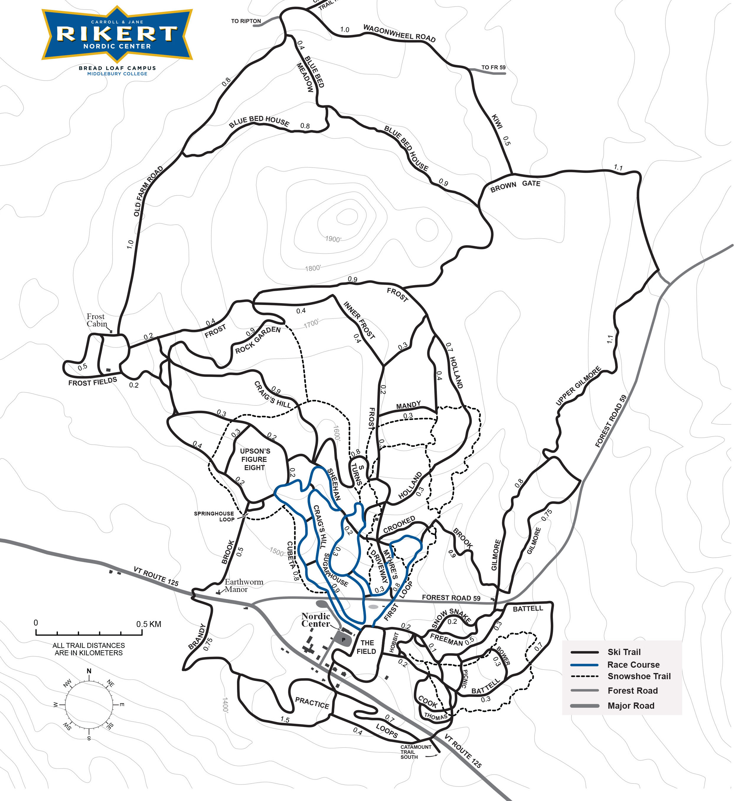 Rikert Nordic Ski Touring Center Trail Map